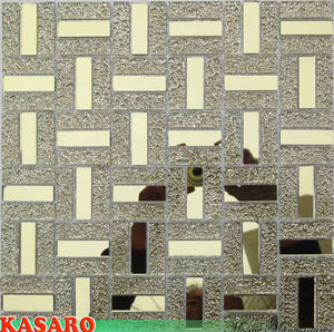 Cheap Gold Color Crystal Glass Mosaic Mirror Tile (KSL8834)