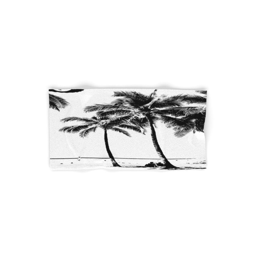 "Society6 Black And White Palm Tree With Hawaii Summer Sea Beach Hand Towel 30""x15"""