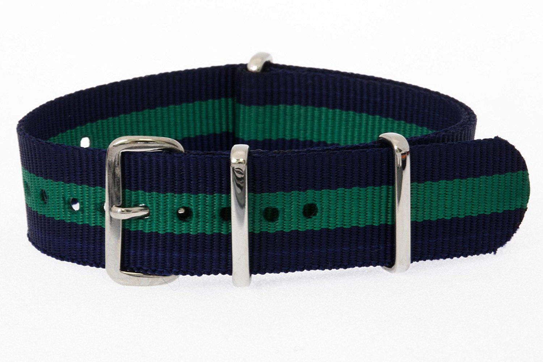48848ffa7e8 Get Quotations · 20mm   Blue Green   James Bond Nylon Nato Watch Band  Military Strap G10