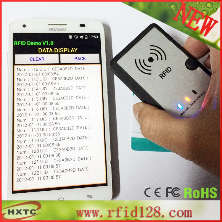 Free Shipping Newest Wireless Bluetooth NFC RFID Card Reader  Writer,13 56mhz For Android 2PCS MF1 SDK Kit