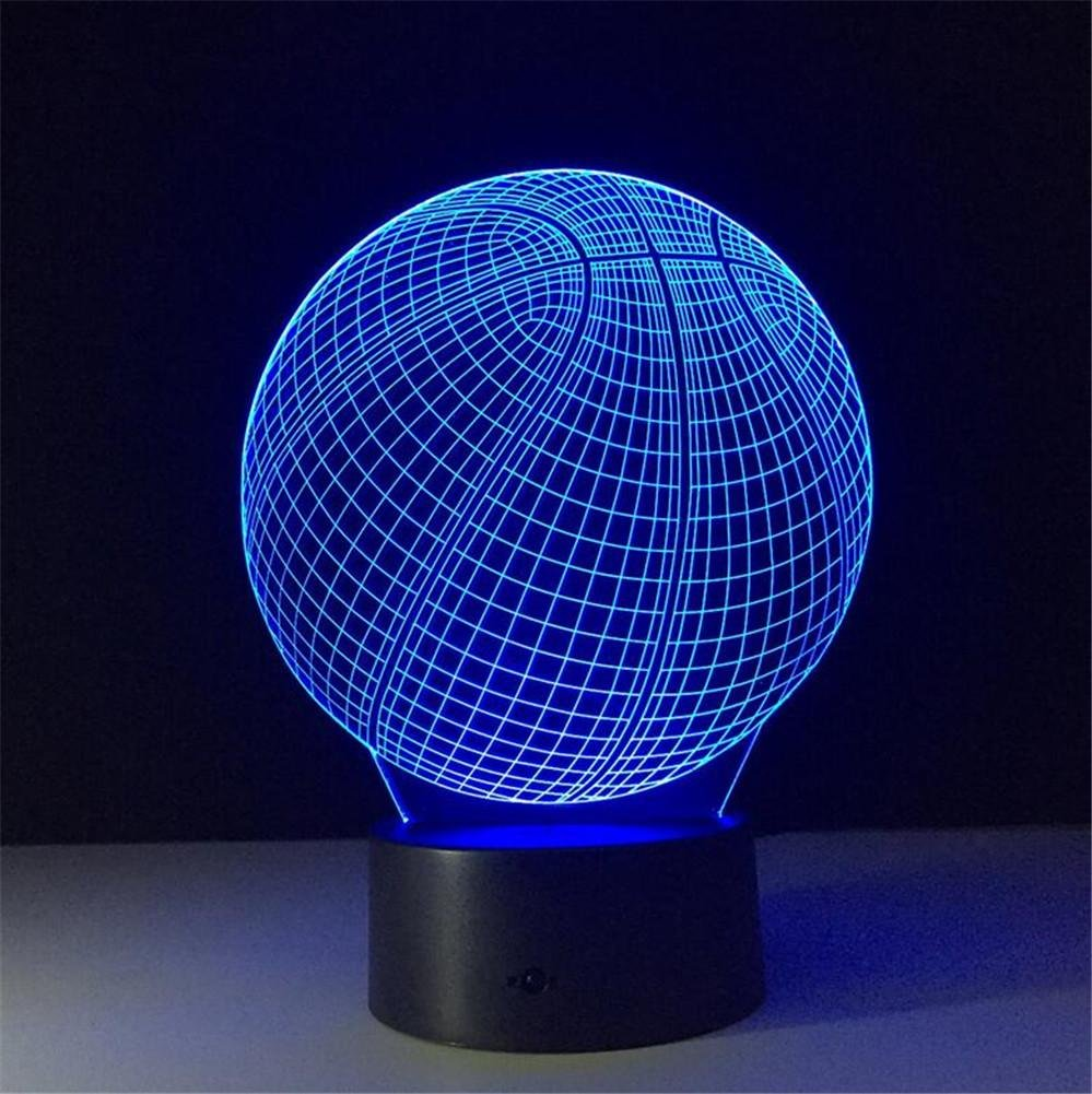 W-ONLY YOU-J 3D Lamp LED Basketball colorful Cartoon Creative Lamp Bedroom USB Charge Night Light Creative Gifts?Control /Touch?