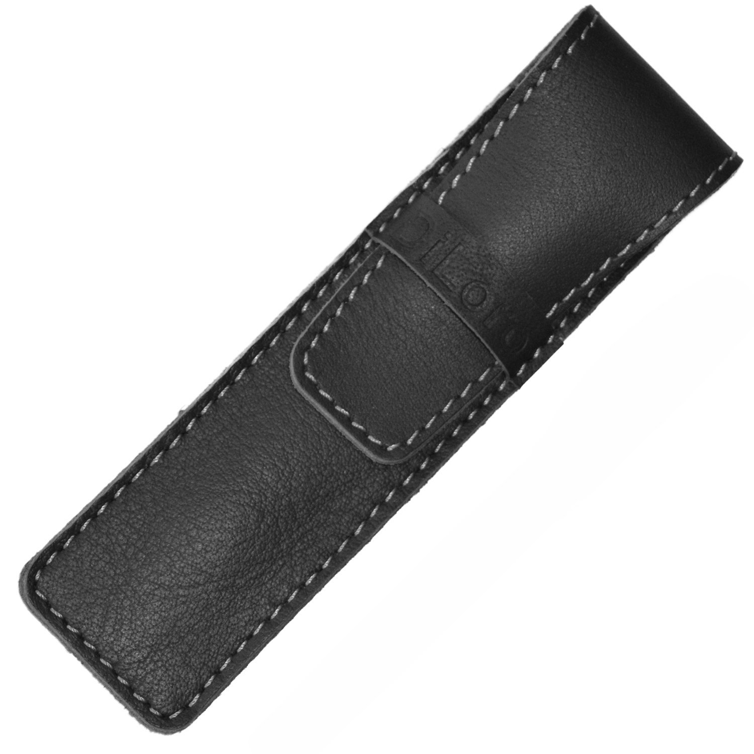 DiLoro Full Grain Top Quality Thick Buffalo Leather Single Pen Case Holder Pouch Black With Orange Stitches