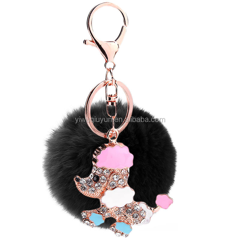 8cm Wholesale Rabbit Fur Ball Keychain Rhinestone Crystal Dog Charm Fur Bulb Pom Pom Keychain