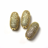 BE121 Wholesale Jewelry Findings Gold Plated Micro Pave Zircon Spacer Bead Findings