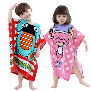 Animal cartoon microfiber kids towel poncho manufacturer china
