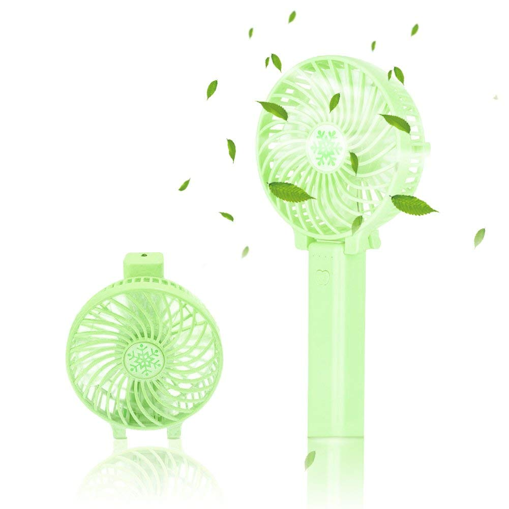 Portable Fan Mini Handheld Fan,Vidillo LED Personal Cooling Blower Desktop Fan with USB Rechargeable Battery Operated Electric Fan,Desk Fans with Clip,3 Speeds,for Home,Camping,Office Travel (Green)