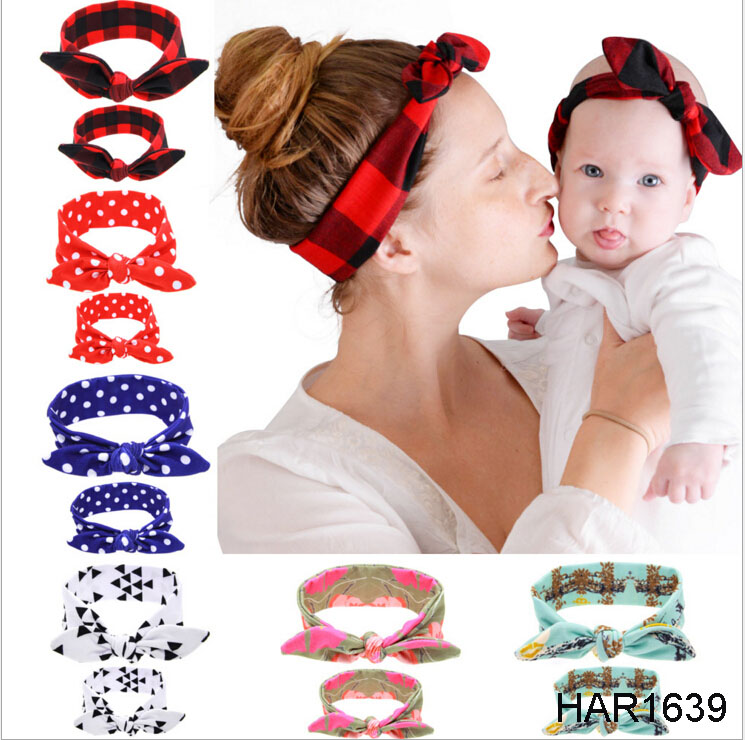 2PC/Set Mom Kid Rabbit Ears Hair Bands Tie Bow Hair Knot Bow Cotton Headbands For Women