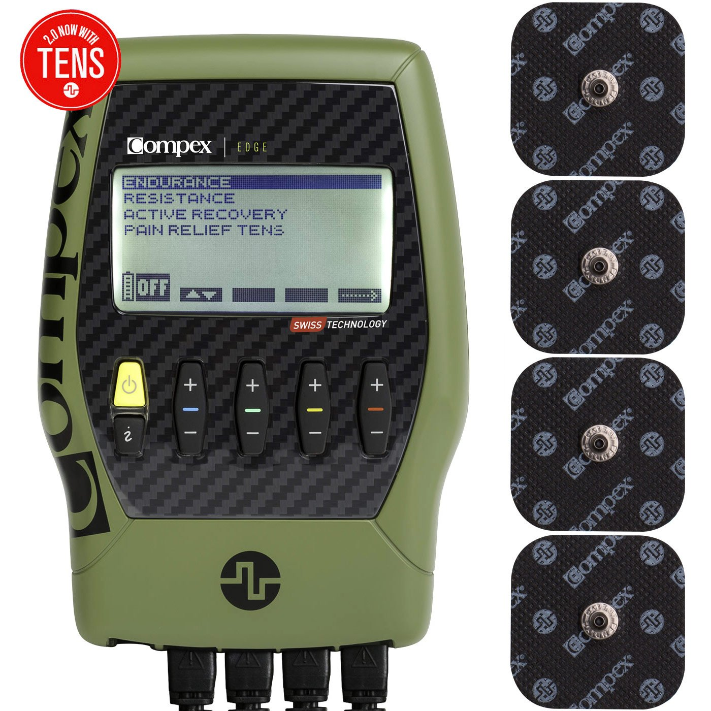 Compex Edge 2.0 Muscle Stimulator with TENS Bundle Kit: Muscle Stim, 12 Snap Electrodes, 4 Programs, Lead Wires, Battery, Case / 2 strength, 1 recovery, 1 TENS