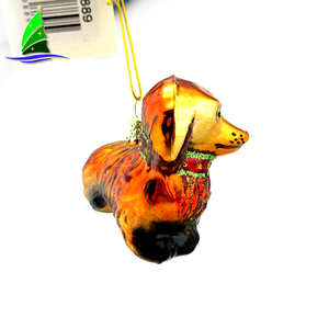 Hand blown christmas tree decorative hanging glass dog christmas ornament