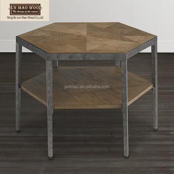 Modern Hexagon Bunching Coffee Table Wood Top Metal Coffee Table - Hexagon wood coffee table