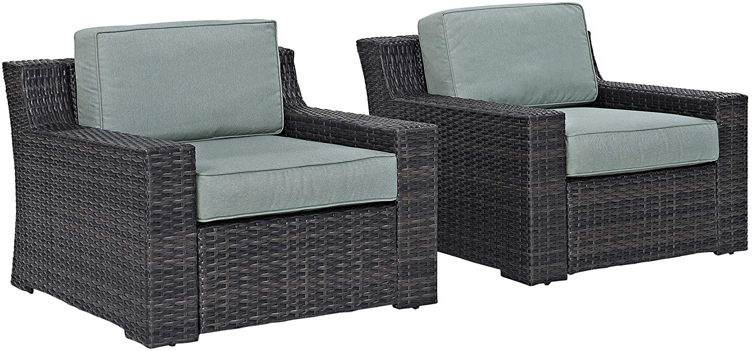 Crosley Furniture KO70100BR Beaufort 2-Piece Outdoor Wicker Seating Set with Mist Cushions-Brown