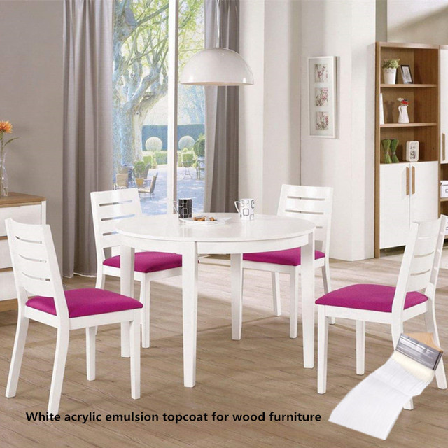 Asian High Quality Low VOC White Acrylic Emulsion Water Based Paint For Wood  Furniture Factory