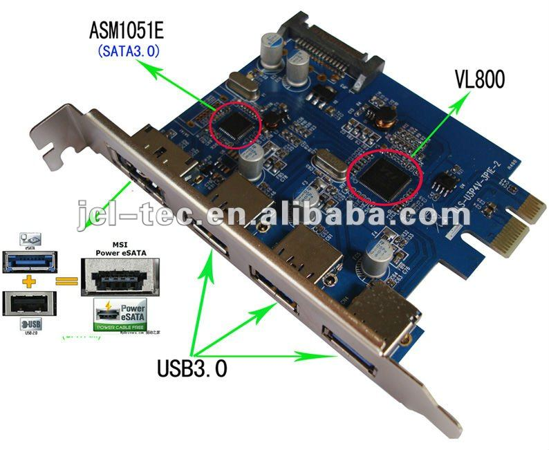 Superspeed Pci Express Pci-e To Usb 3.0 (x1)(3x Ext)+ Power Esata ...