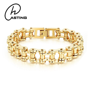 Gold Plated Hip Hop Stainless Steel Punk Men Bike Motorcycle Chain Bracelet