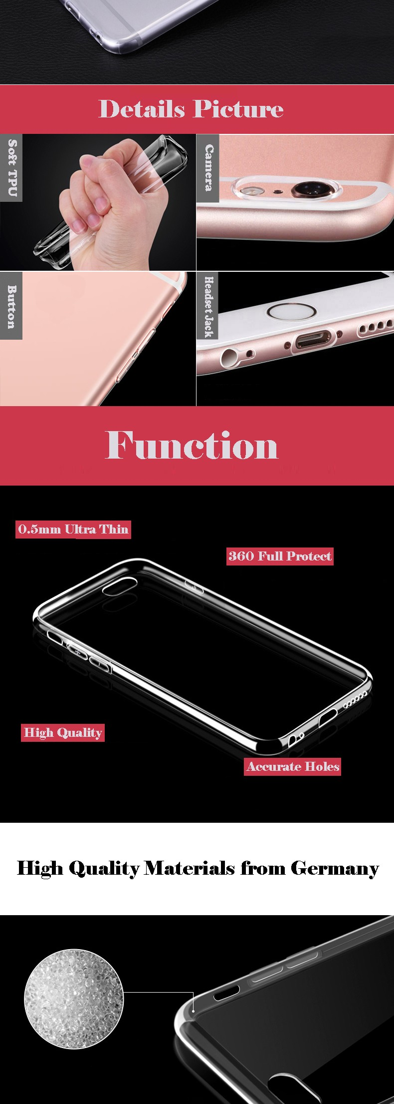 Free shipping Ultra thin crystal transparent phone accessories soft TPU cell phone back cover case for iphone 8 / 7 rubber case