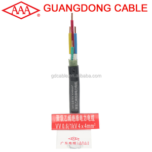 VV4x4mm 0.6/1KV PVC Insulated 4 core power cable VV VV22 YJV YJV22 YC YZ Power Cable 1.5mm 2.5mm 4mm 6mm 10mm