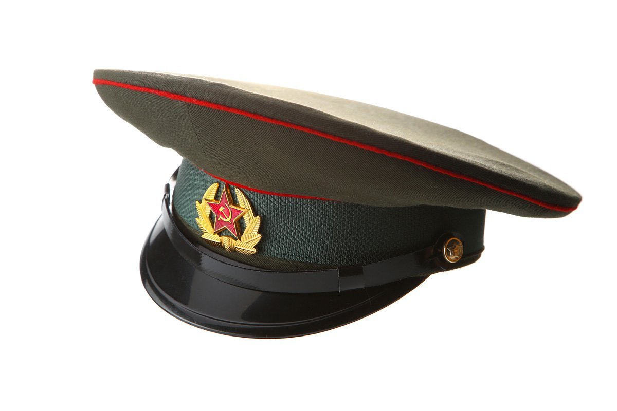Russian   USSR Army Military Hat   Officer s Cap + Soviet Red Star Badge  size M 08dcfe87c14