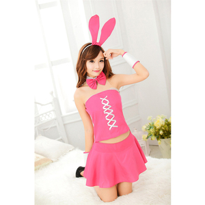 High quality sexy pink japanese girl cosplay bunny cute performance skirt costume