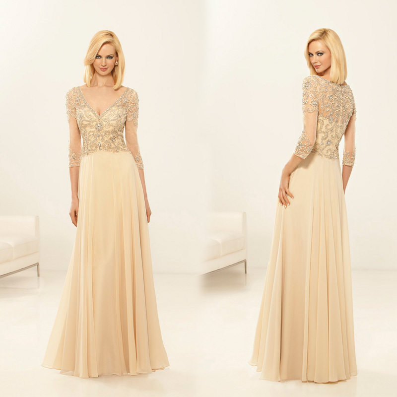 Get Quotations Long Pastel Color A Line Chiffon Dress For Party 3 4 Sleeve Heavy Beaded