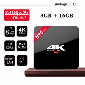 H96 Pro 4k Amlogic S912 Android 7.1 Tv Box 3G+32G Octa Core Tv Box First 3g Ram Box
