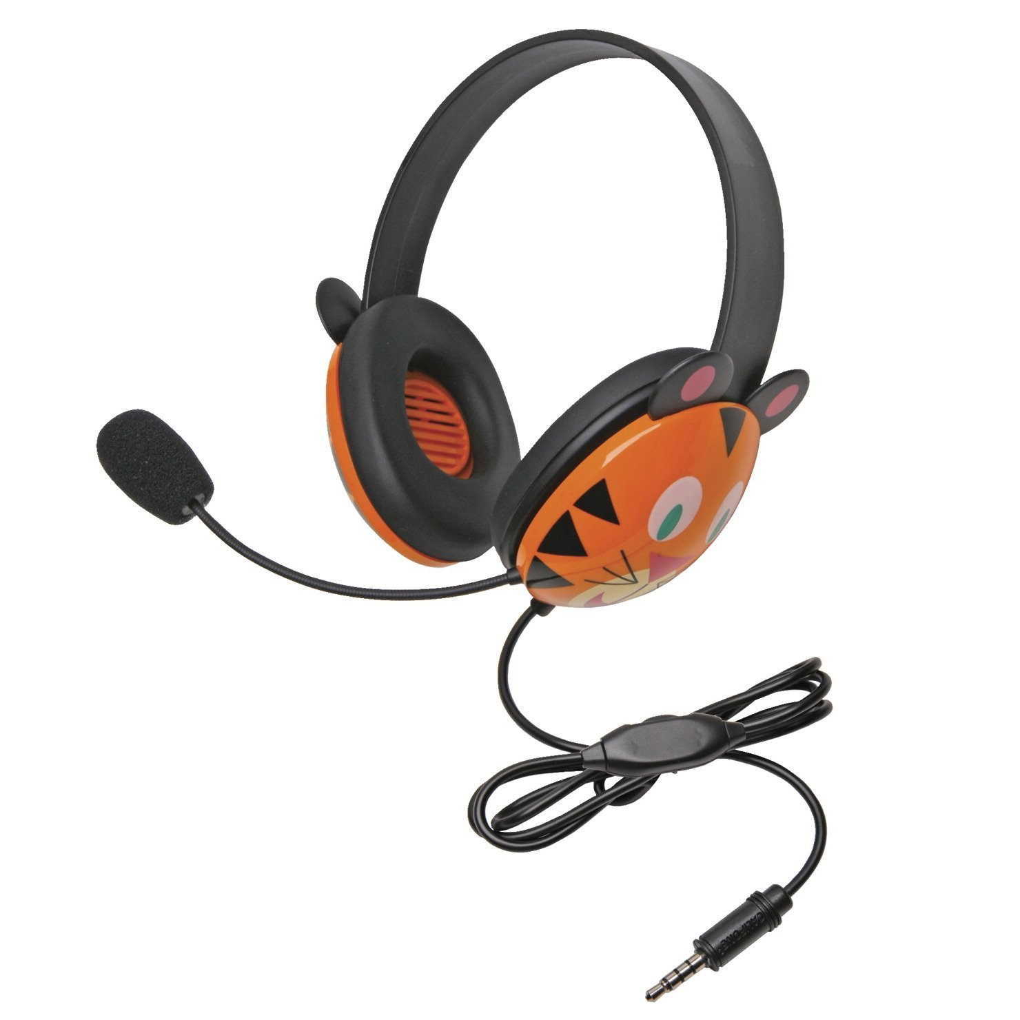 Califone 2810-TTI Listening First Tiger Theme Stereo Headset with To Go Plug, For Use With MAC and Windows-Based Computers, iOS/Android-Based Smartphones and Tablets