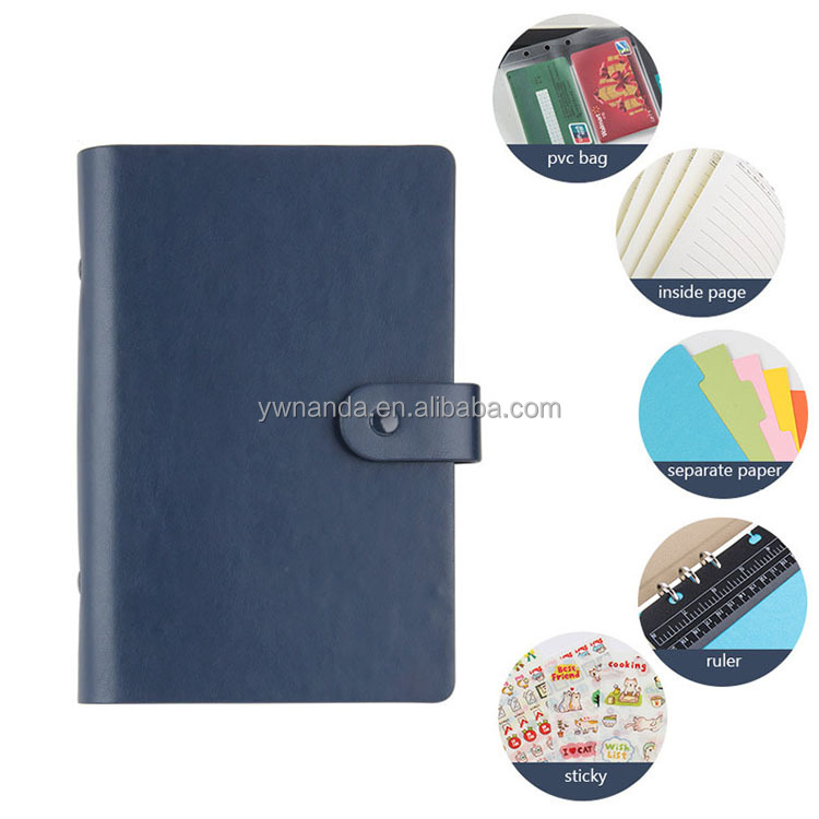 A5 business gift PU leather cover loose leaf spiral ring binder notebook