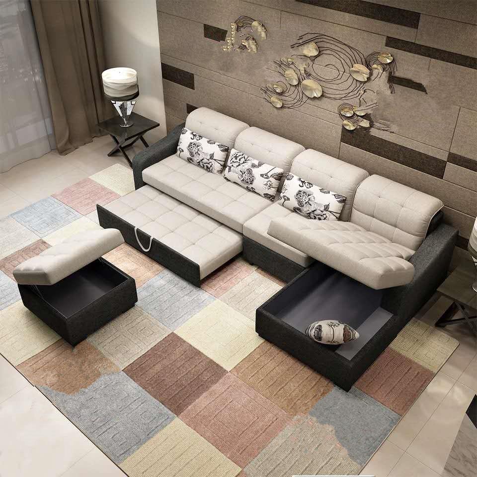 - Smart L Shape Sectional Sleeper Furniture Fabric Wall Modern