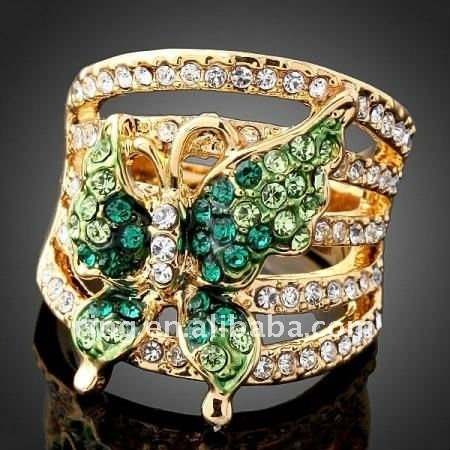 2011 golden Crystal Emerald Butterfly YGP large Fashion Rings