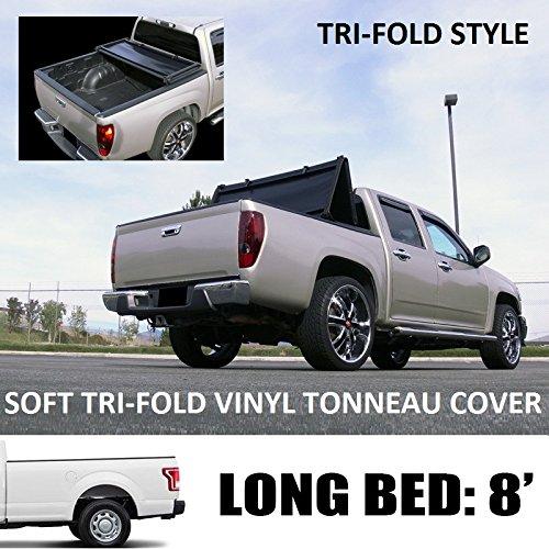 "VXMOTOR Tri-Fold Soft Vinyl Truck Bed Topper Cap Tonneau Cover 2015-2017 Ford F150 Regular ( Standard ) / Super ( Extended ) Cab 8 Ft ( 96"" ) Long Bed Models"