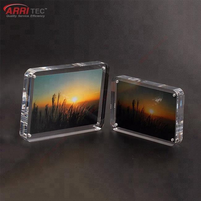 10mm block acrylic magnetic photo frame plastic picture frame