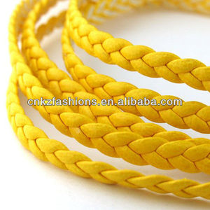 1 meter of 3x2mm Yellow Flat Braided Leather Like Cord