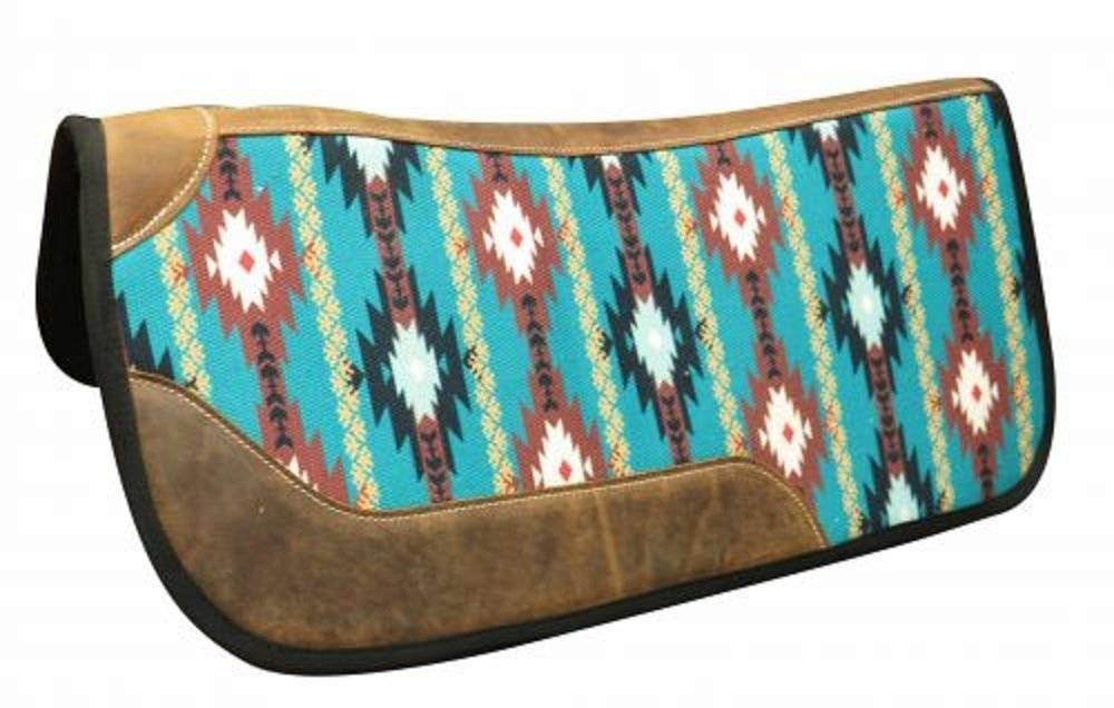 "Showman 31"" x 32"" Felt Bottom Contour Navajo Saddle Pad with Leather Reinforced Spine and Wear Leathers"