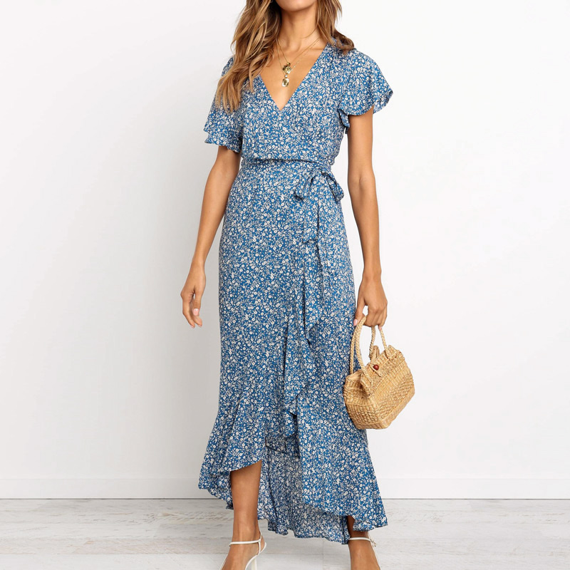 50% Off Women Casual Boho Floral Print Chiffon Beach <strong>Dress</strong> <strong>Sexy</strong> V-Neck Ruffles Bodycon Wrap High Slit Party EB1522