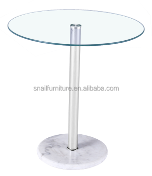 Round White Marble Base Tempered Gl Top Modern Side Table