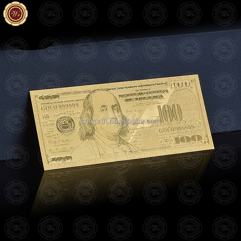 Wr Collectible World Paper Money Rare Gold Foil USA 100 Dollar Banknotes Best Souvenir Gifts