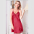 HSZ S6003 Wholesale Fashion New Silk V collar  Nightdress Sexy Home Skirt Charming Dress with Lace Decoration Red Pink