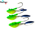 4pcs 21g Green Fish Lead Head Jig Barbed Hook Soft Baits Fishing Pesca Peche Vishaken Anzol