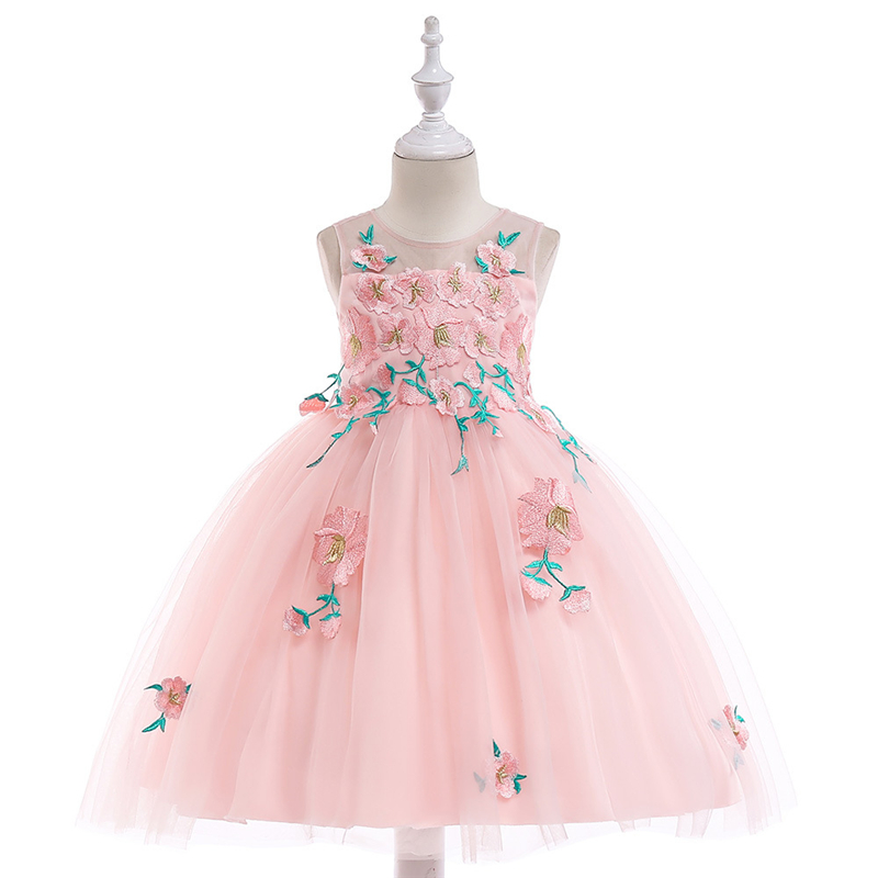 Sleeveless O-Neck Appliqued Flower Girl Dresses Kids Tulle Party Dresses фото