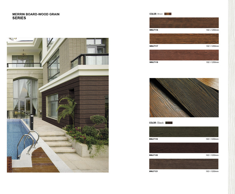 Prefabricated Vila House Weather Proof  Wood Grain Fiber Cement Siding