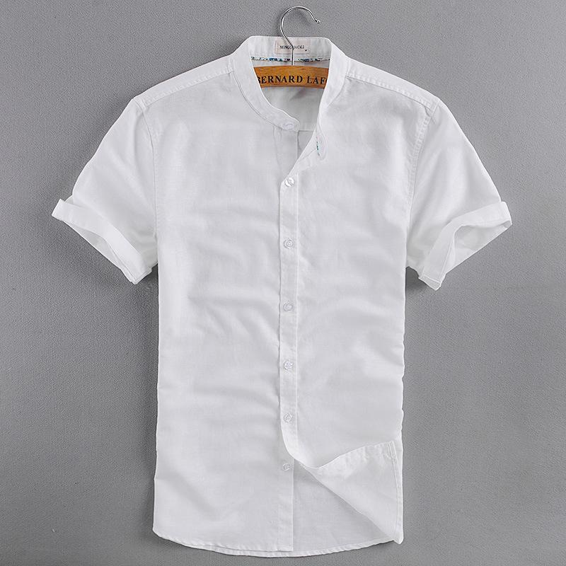 Aliexpress Com Buy Men S Mandarin Collar Short Sleeve