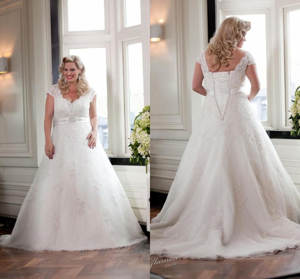 Vintage Wedding Dresses With Cap Sleeves: Plus Size 2015 Vestido De Noiva A-line Cap Sleeves