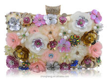 China supplier 2017 korean fashion new flowers glassbeads embroidery dinner evening clutch bridal bags high-grade ladies handbag