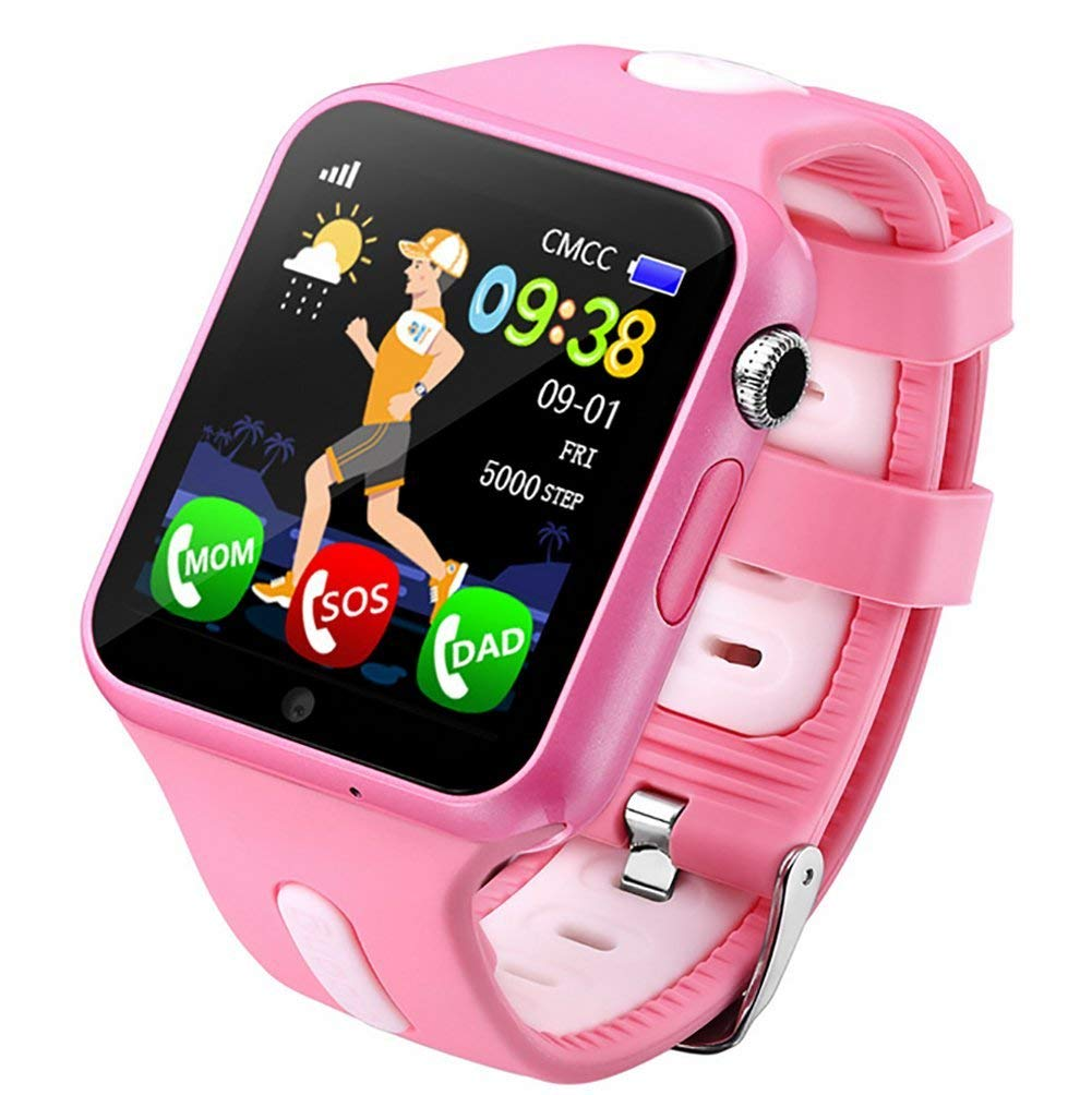 ZNSB Kids GPS Smart Watch, Tracker Watch Touch Screen Childrens Smart Watch Phone Sim Anti-Lost SOS Wrist Watch Parent Control By Android Smartphone For Boys Girls,Pink