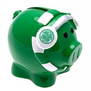 Celtic F.C. Scarf Piggy Bank- scarf piggy bank- approx 10cm x 8cm x 8cm- in a presentation box- official licensed product