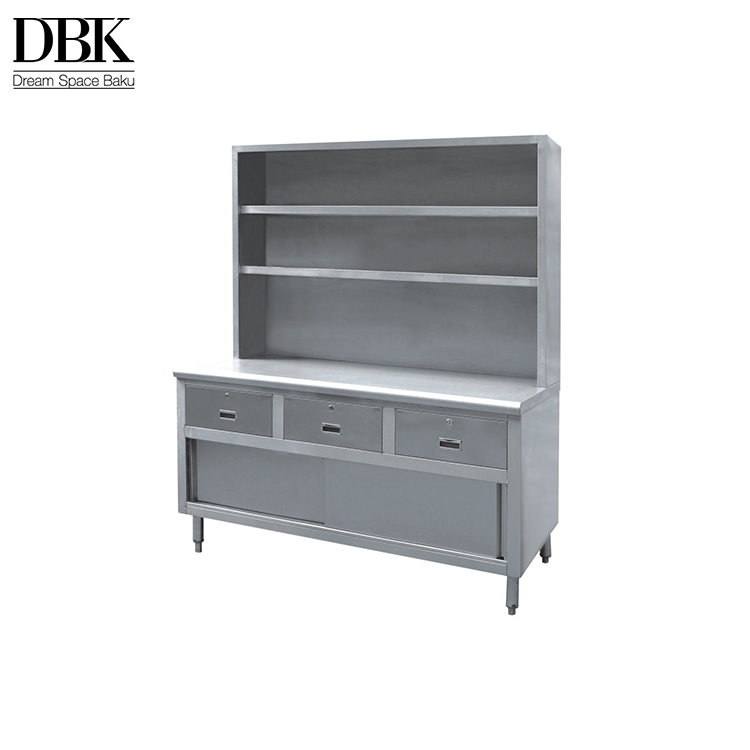 Modern style stainless steel work table hotel kitchen cabinets with top shelf