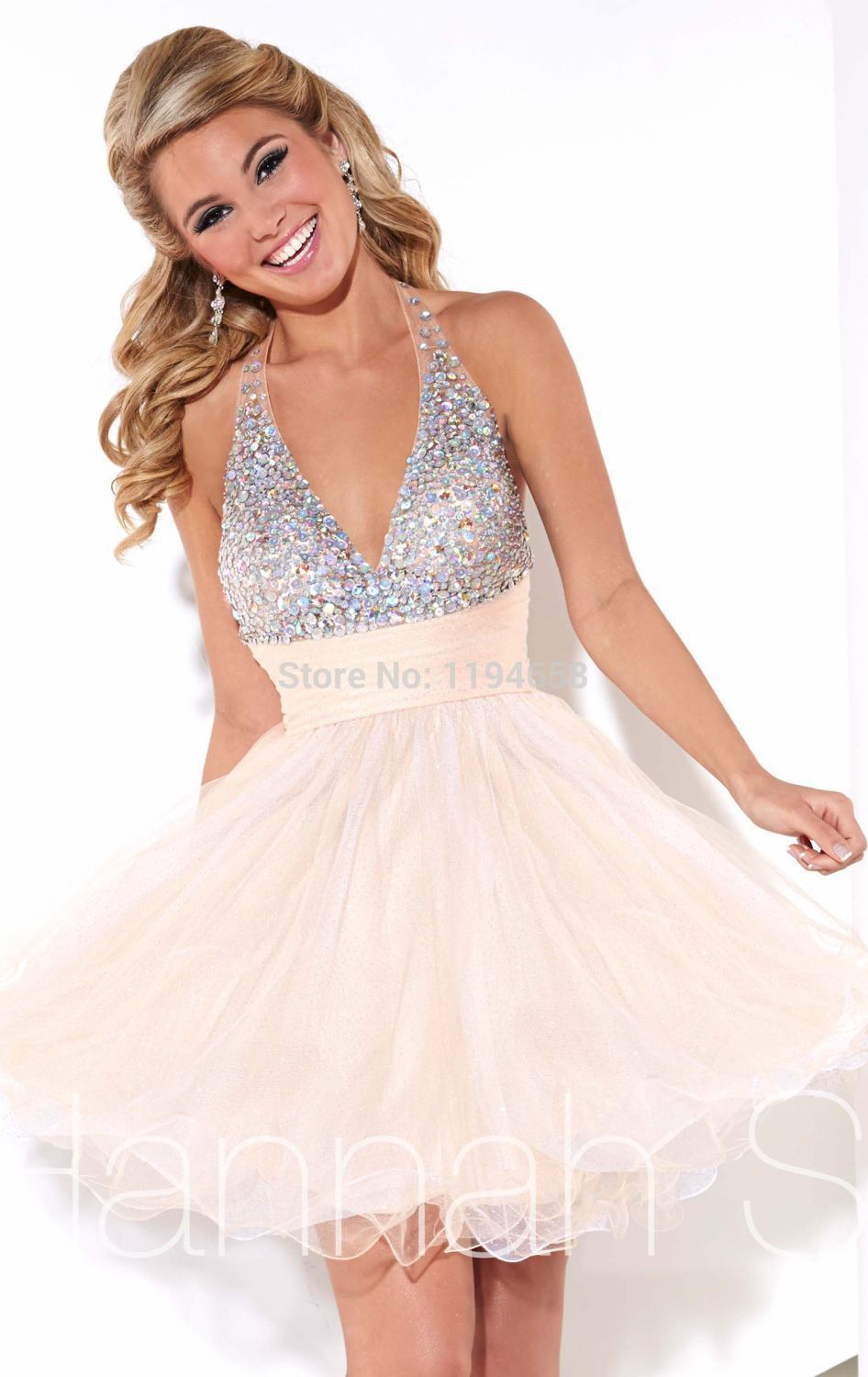 679a0f83ab88 Get Quotations · 2014 Sexy Halter Crystal Homecoming Dresses Crystal Mini  Tulle Party Short Prom Dress New Design For