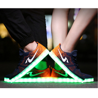 guangzhou factory sneakers male and female air sport led light shoes