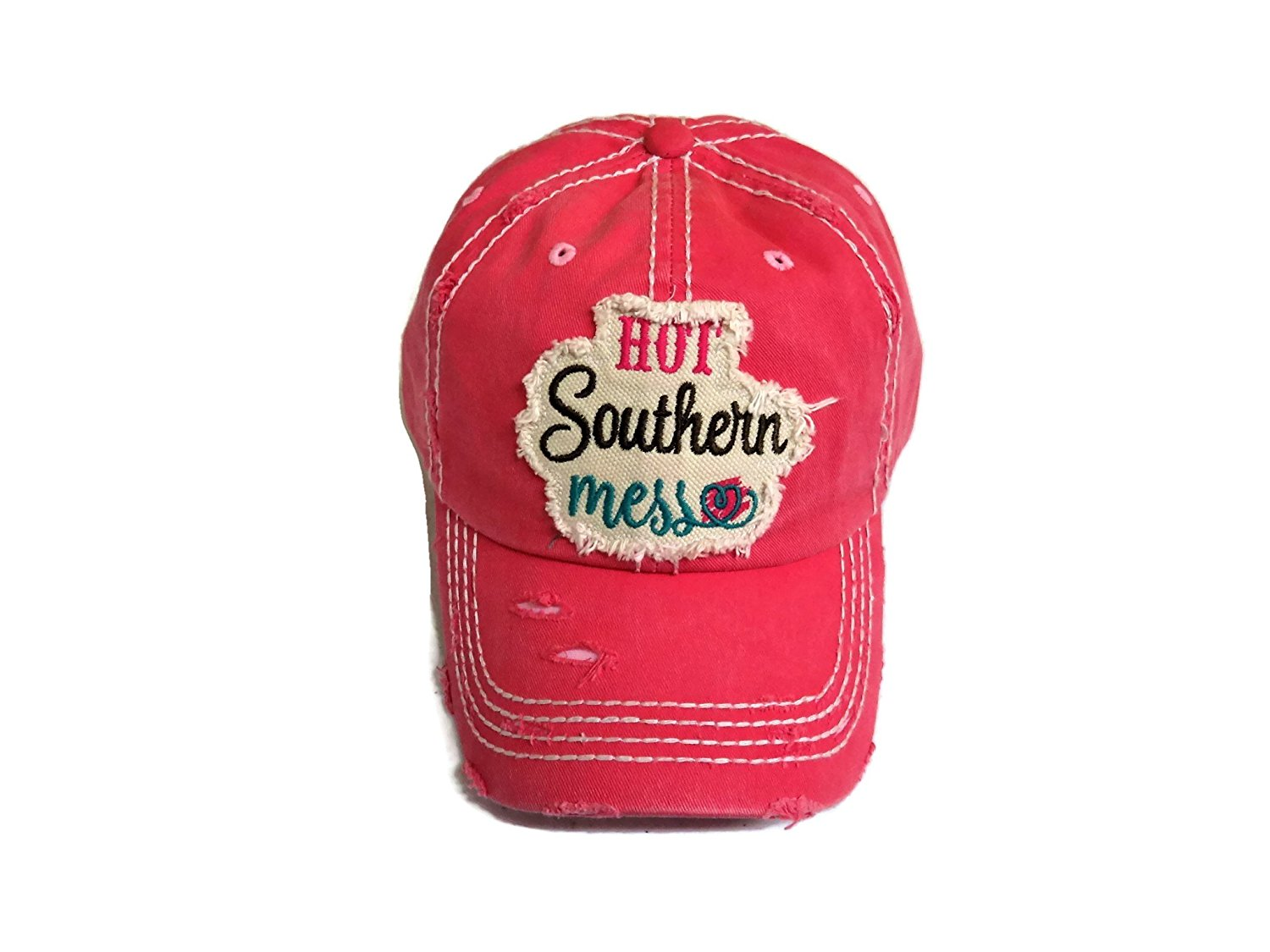6fba4e5064c Get Quotations · Spirit Caps Embroidered Hot Southern Mess Frayed Patch  Washed Fuchsia Baseball Cap