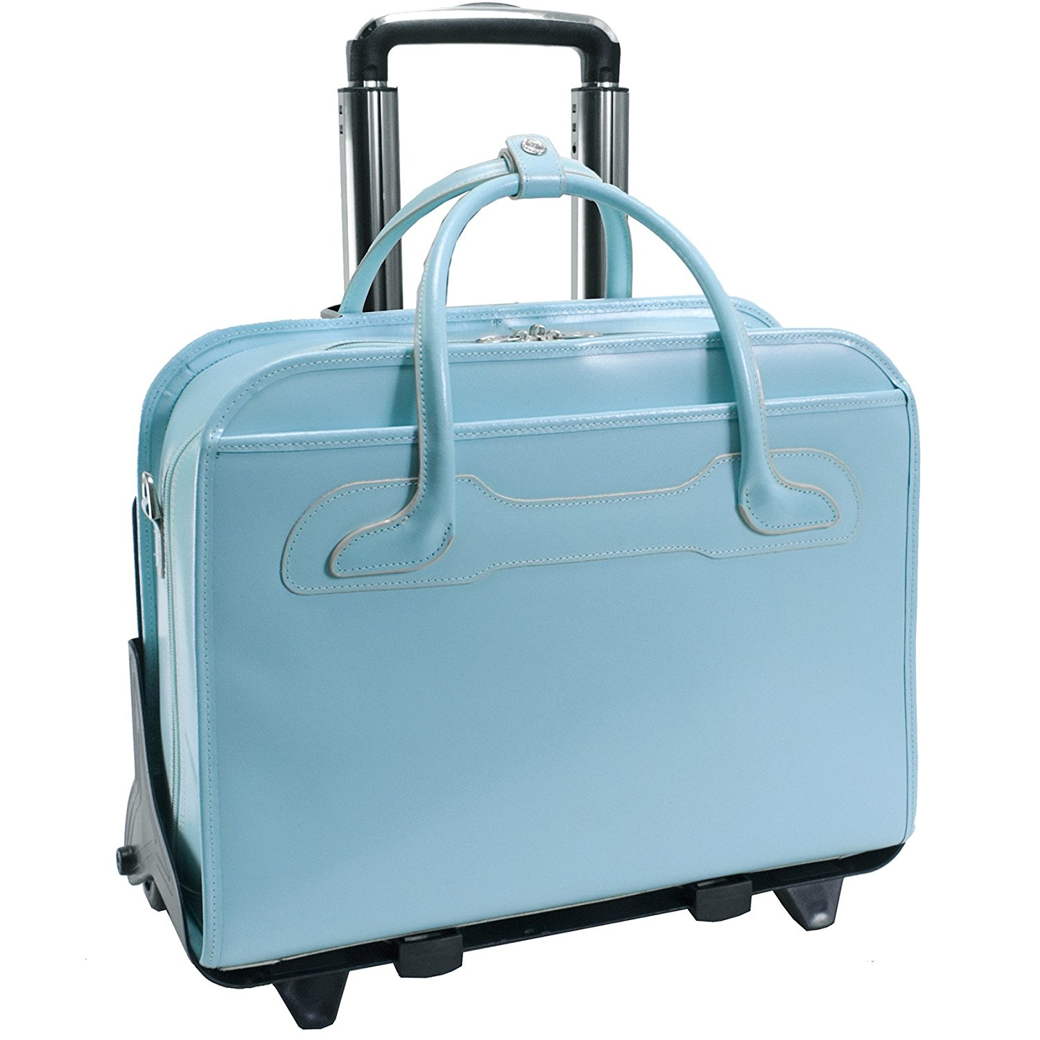 """Willowbrook Rolling Leather 17"""" Laptop Brief - Aqua Blue"""