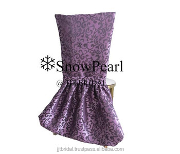 2015 New Arrival Purple Damask Banquet Wedding Chair Covers CH524